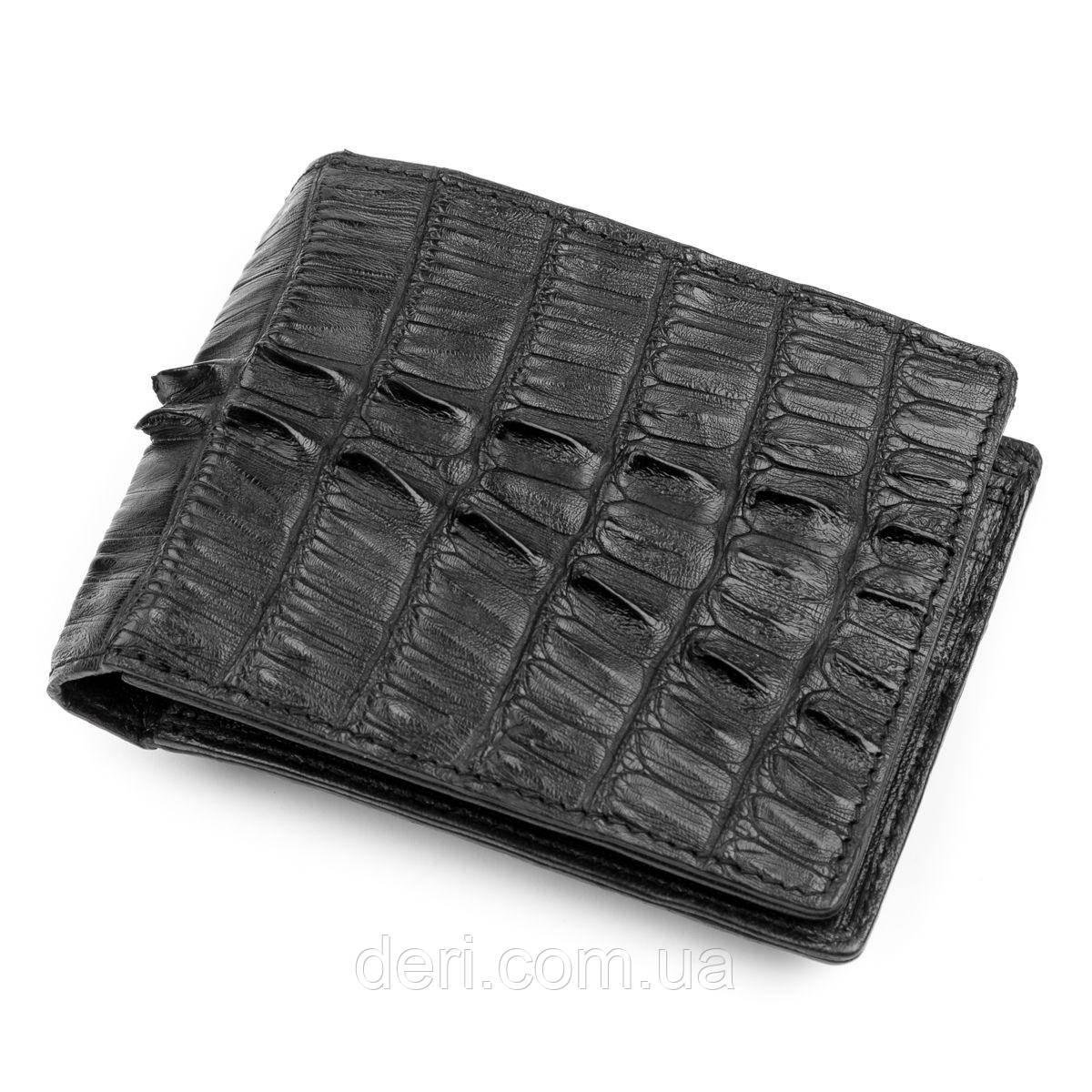 Кошелек CROCODILE LEATHER из натуральной кожи крокодила (каймана) Черный, Черный
