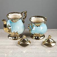 "Чайный сервиз ""Валтасар"" голубой, 8 предметов, чайник 0,8 л, сахарница 0,5 л, чашка 0,25 л"