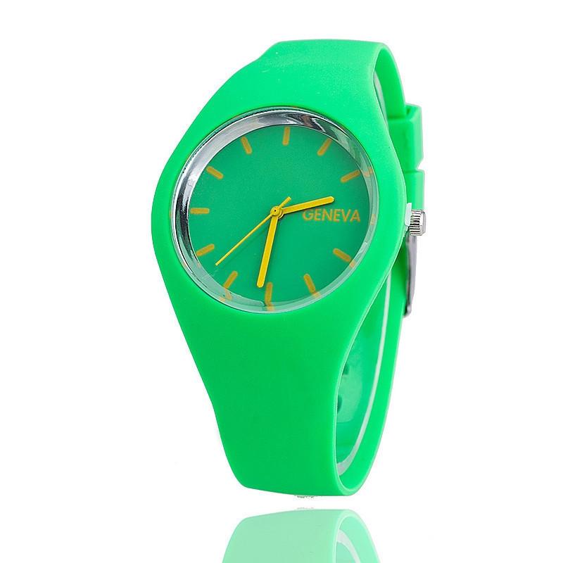 Годинники жіночі Женева Geneva силіконові зелені 122-3