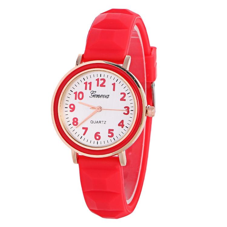 Часы женские Женева Geneva силиконовые красные 123-4