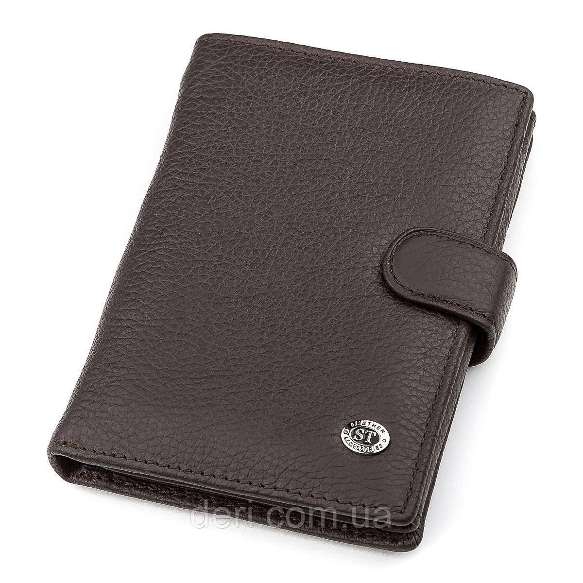 Мужской кошелек ST Leather  вертикальный Коричневый, Коричневый