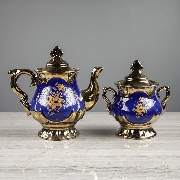 """Чайный сервиз """"Валтасар"""" кобальт, 8 предметов, чайник 0,8 л, сахарница 0,5 л, чашка 0,25 л"""