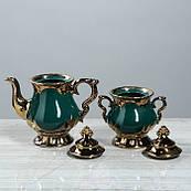 """Чайний сервіз """"Валтасар"""", зелений, 8 предметів, чайник 0,8 л, цукорниця 0,5 л, чашка 0,25 л"""
