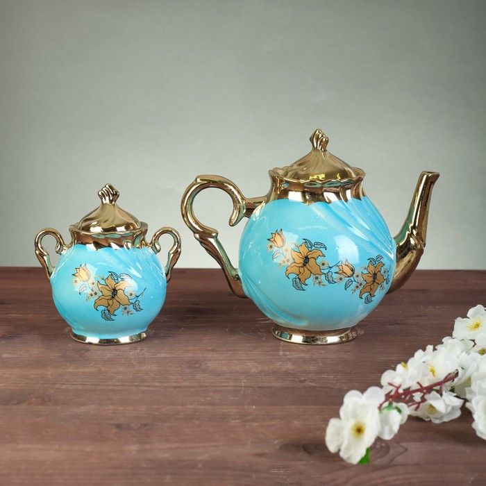 """Чайний сервіз """"Орфей"""", 8 предметів, блакитний,, 0,5 л чайник, 0,5 л цукорниця, 0,2 л чашка"""