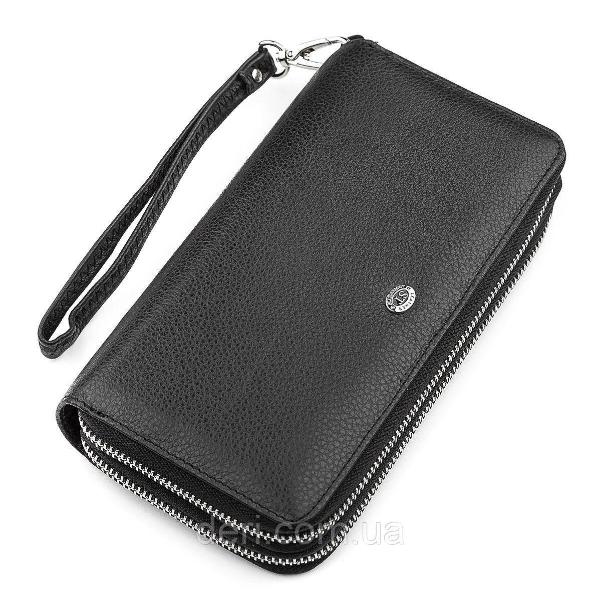 Мужской кошелек ST Leather 18451 (ST127) натуральная кожа Черный, Черный