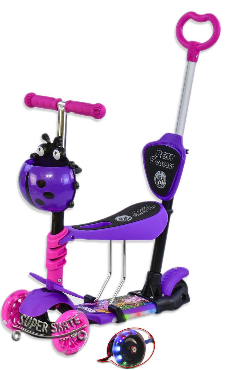 Самокат для малышей 5 в 1, Беговел Scooter - С родительской ручкой и подсветкой - Фиолетовый