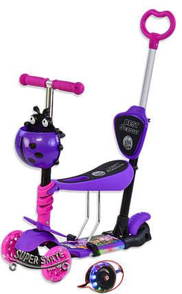 Самокат для малышей 5 в 1, Беговел Scooter - С родительской ручкой и подсветкой - Фиолетовый, фото 2