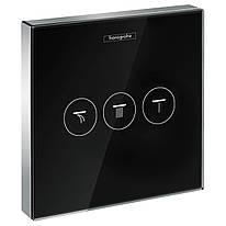 ShowerSelect Модуль с тремя запорными клапанами, стеклянный, черный/хром
