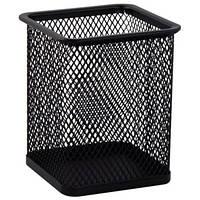 Подставка для ручек (квадратная) металлическая, черная (6201-01)