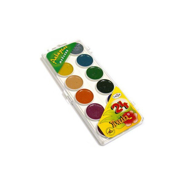 Краски акварель медовые Гамма-Рос Пчёлка 212035, 24 цвета, б/кист.