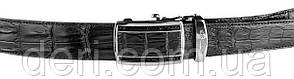 Ремень-автомат CROCODILE LEATHER 18236 из натуральной кожи крокодила (каймана) Черный, Черный, фото 2