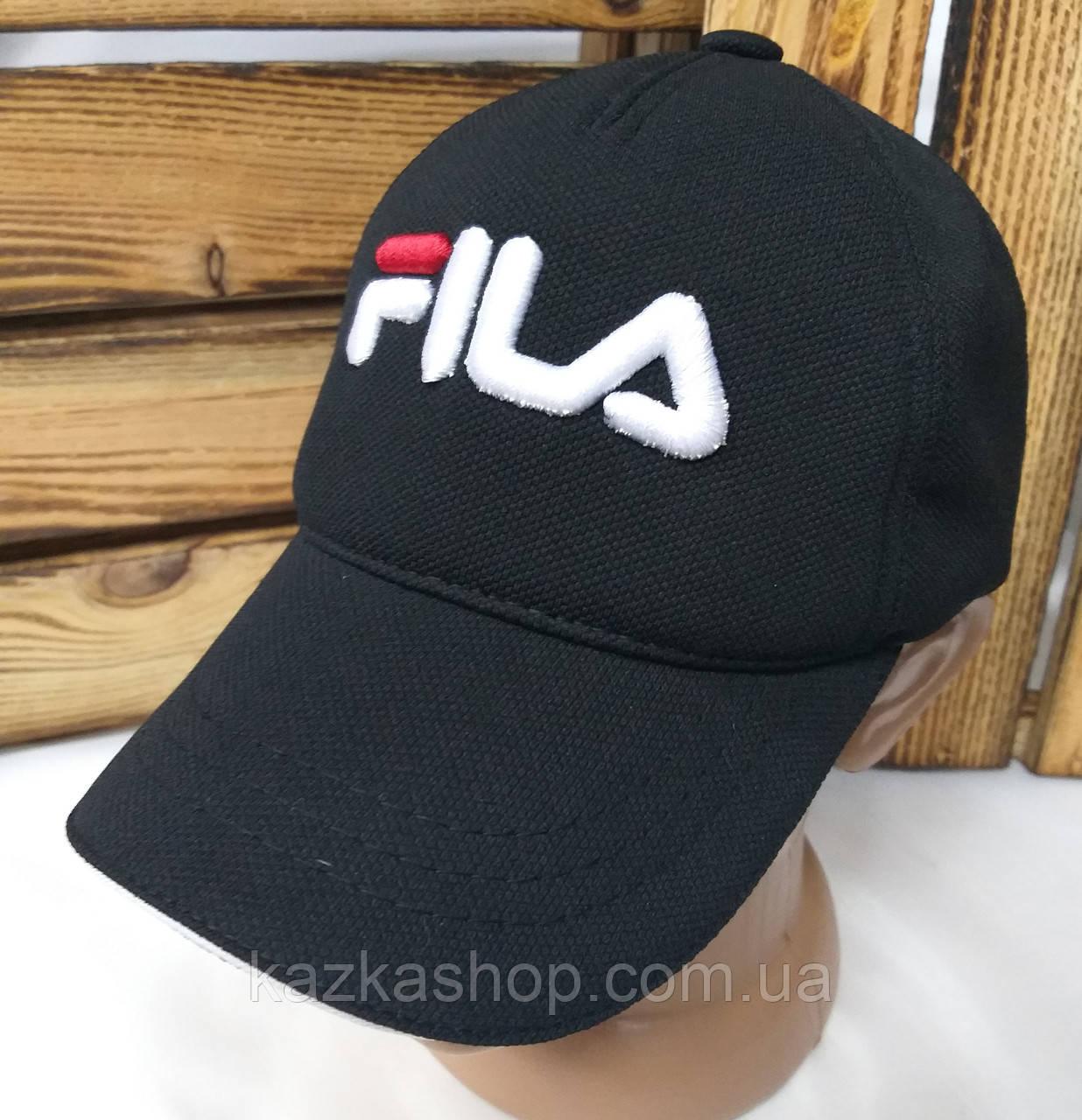 """Мужская кепка в стиле """"Fila"""" (копия) черного цвета, лакоста, сезон весна-лето, большая вышивка, на регуляторе"""