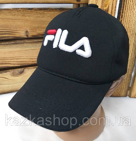 "Мужская кепка в стиле ""Fila"" (копия) черного цвета, лакоста, сезон весна-лето, большая вышивка, на регуляторе, фото 2"
