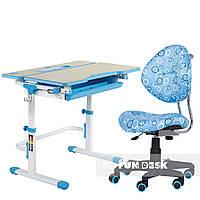 Комплект растущая парта Lavoro L Blue + детское ортопедическое кресло SST5 Blue FunDesk, фото 1