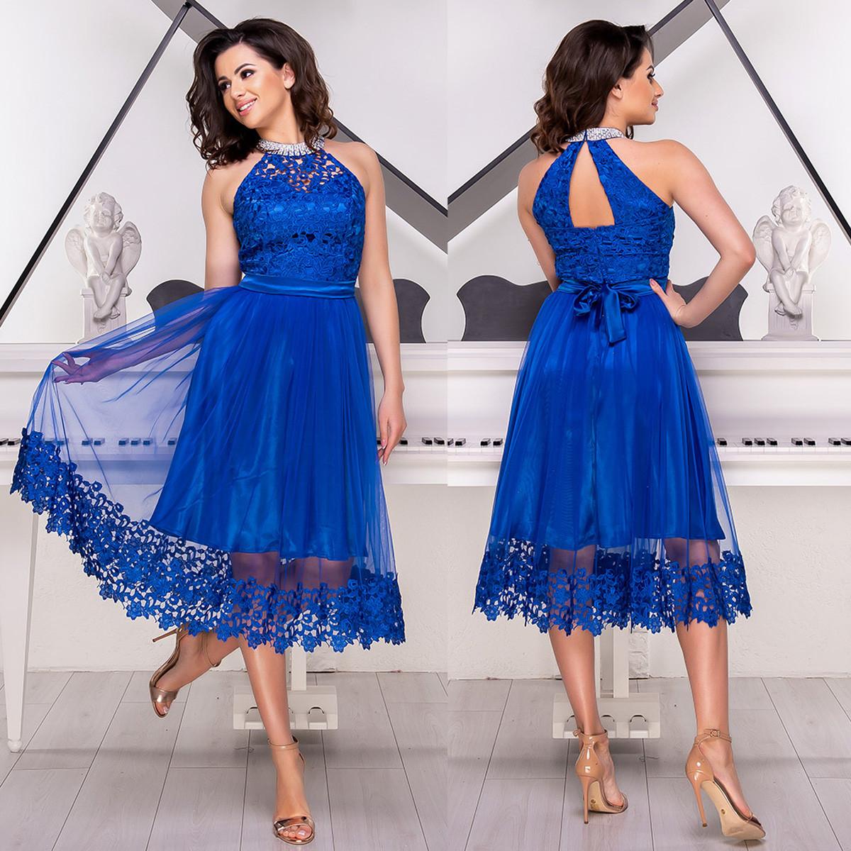 """Випускна сукня кольору електрик з мереживом """"Шеррі люкс"""""""
