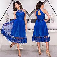 """Випускна сукня кольору електрик з мереживом """"Шеррі люкс"""", фото 1"""