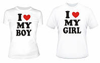 Парные футболки I Love my Boy\ Girl , фото 1