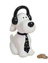 Скарбничка собака в навушниках кераміка 9X16X20 см 10012848