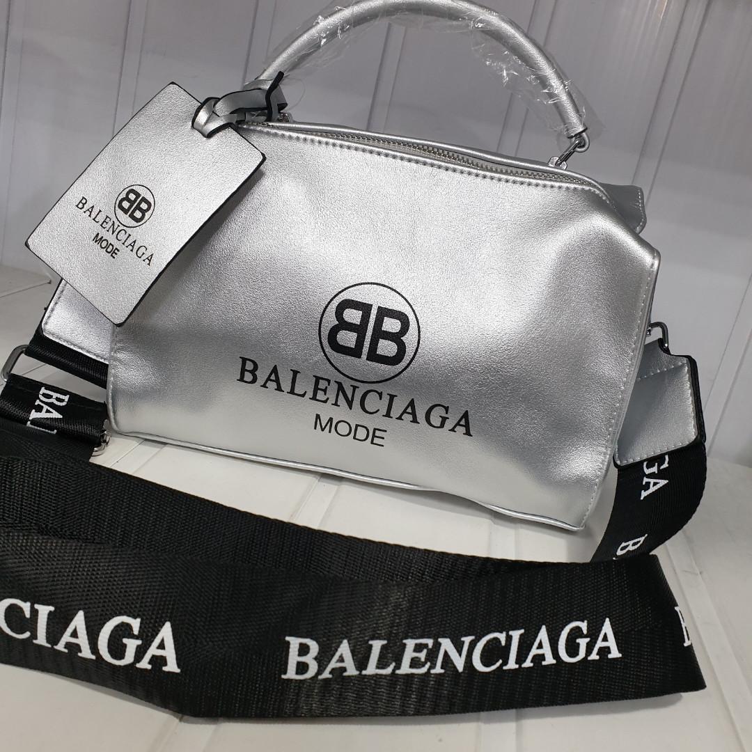 354fe9c74047 Balenciaga женская сумка баченок серебро белая чёрная копия: продажа ...