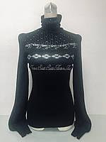 Свитер женский с горлом черный, фото 1