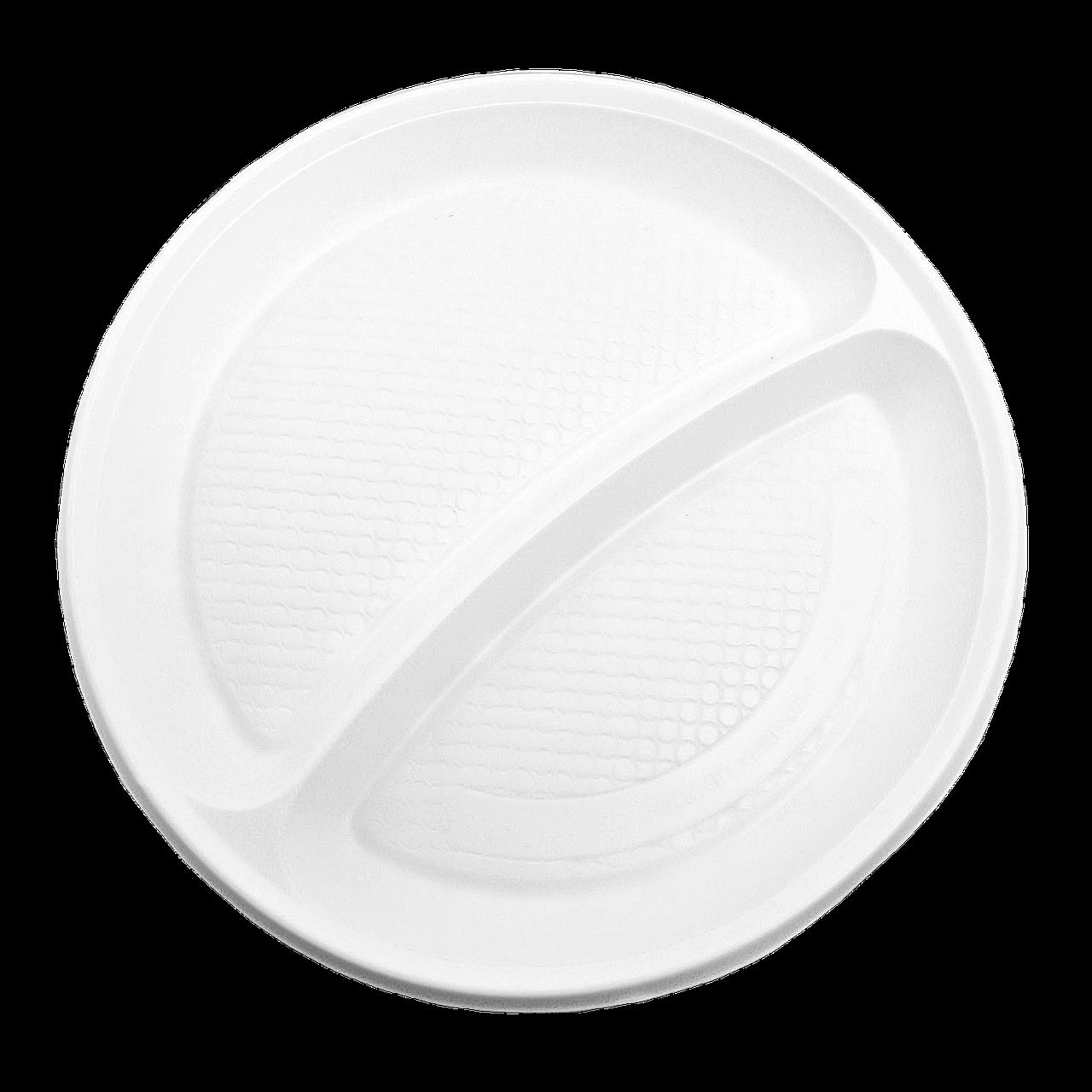 Тарілка пластикова, 2 відділення  20см 100шт Біла
