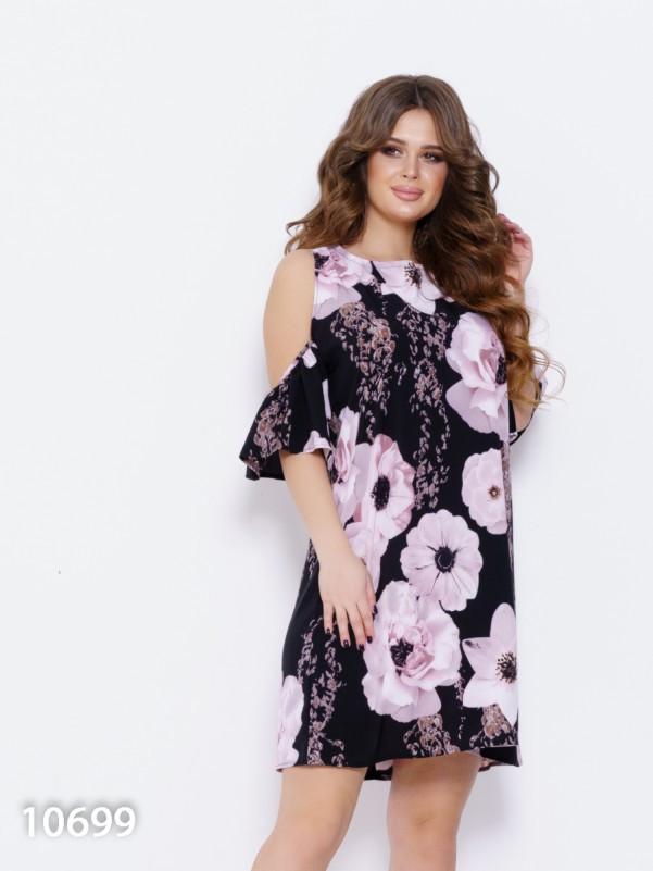 8850cb2c45e Черное свободное платье с крупным цветочным принтом - Vigan в Ужгороде
