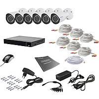 Комплект видеонаблюдения на 6 камер Tecsar AHD 6OUT 2MEGA