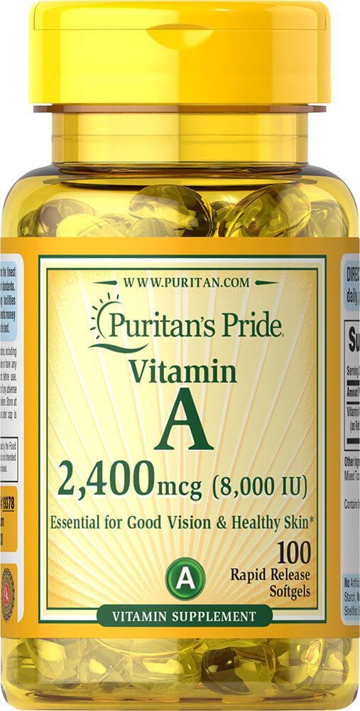 Витамин А  Vitamin A Puritan's Pride 8000 МО (2400 мкг), 100 капсул