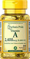 Витамин А  Vitamin A Puritan's Pride 8000 МО (2400 мкг), 100 капсул, фото 1