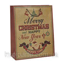 Подарочная коробка Веселое Рождество бумажная 26X12X33см 10024337