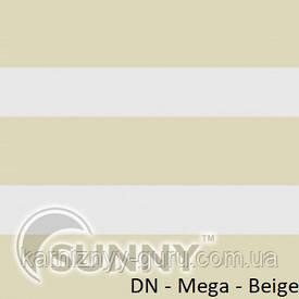 Рулонные шторы для окон День Ночь в закрытой системе Sunny с П-образными направляющими, ткань DN-Mega