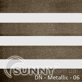 Рулонные шторы для окон День Ночь в закрытой системе Sunny с П-образными направляющими, ткань  DN-Metallic