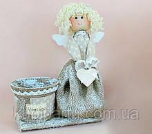 Кашпо Девочка ангелочек из полотна 8018