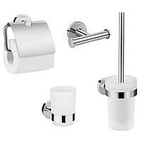 Logis Набор аксессуаров: крючок двойной, держатель туалетной бумаги, стакан, туалетная щётка (41725000+41723000+41718000+41722000)