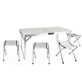 Усиленный стол для пикника раскладной с 4 стульями Easy Camping (белый)
