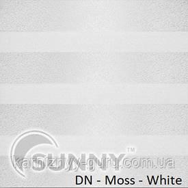 Рулонные шторы для окон День Ночь в закрытой системе Sunny с П-образными направляющими, ткань  DN-Moss