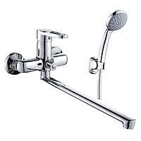 KINK cмеситель для ванны однорычажный, переключатель ванна/душ встроен в корпус, L-излив