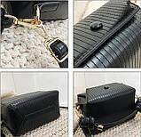 Модная женская сумка. Маленькая сумка женская прямоугольной формы (черная), фото 9