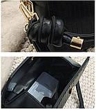 Модная женская сумка. Маленькая сумка женская прямоугольной формы (черная), фото 7