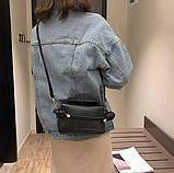 Модная женская сумка. Маленькая сумка женская прямоугольной формы (черная), фото 5