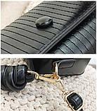 Модная женская сумка. Маленькая сумка женская прямоугольной формы (черная), фото 8