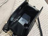 Модная женская сумка. Маленькая сумка женская прямоугольной формы (черная), фото 10