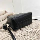 Модная женская сумка. Маленькая сумка женская прямоугольной формы (черная), фото 6