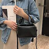 Модная женская сумка. Маленькая сумка женская прямоугольной формы (черная), фото 4