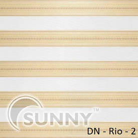 Рулонные шторы для окон День Ночь в закрытой системе Sunny с П-образными направляющими,  ткань  DN-Rio