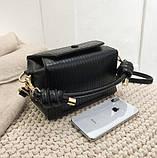 Модная женская сумка. Маленькая сумка женская прямоугольной формы (черная), фото 3