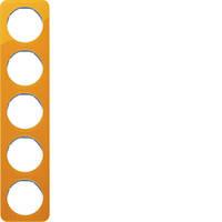 Рамка 5Х прозрачный оранжевый акрил/полярная белизна R.1 Berker