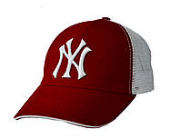 Бейсболка NY с вышивкой (коттон/сетка), фото 1