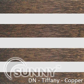 Рулонные шторы для окон День Ночь в закрытой системе Sunny с П-образными направляющими, ткань  DN-Tiffany