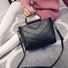 Женская сумка с ручками и ремешком серая, фото 2